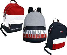 Tommy Hilfiger Backpack Canvas 2 Pocket Travel Book Bag School Unisex New Nwt Th