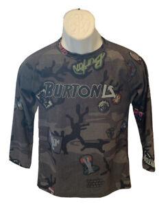 BURTON Dryride LS Base Layer Shirt Kids Sz L Gray Black Camo Emblems Cobra Skull