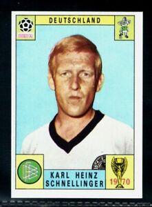 PANINI MEXICO 70 WORLD CUP KARL HEINZ SCHNELLINGER - DEUTSCHLAND RED/BLACK MINT