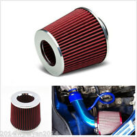 """Red 3"""" 75mm Car SUV High Flow Short RAM/COLD Air Intake Vent Cone Filter Cleaner"""