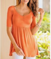 Boston Proper Cinched Front Tunic Empire Waist Short Sleeve Top Apricot Delight
