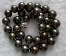 "AAA 18""13-16MM NATURAL TAHITIAN GENUINE BLACK ROUND CHOCOLATE PEARL NECKLAVE"