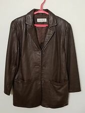 Jones New York Brown Leather V Neck Button Front Jacket Size Small