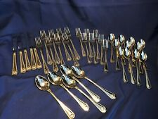 36 piece Place Setting For 5 with Extras Towle Supreme Abbey Gold Flatware