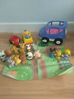 Fisher Price Little People Sounds Car 12 Animals & 3 Figures Playmat Bundle