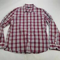 J.CREW Mens Button Front Shirt Maroon Plaid Flannel Long Sleeves Point Collar XL