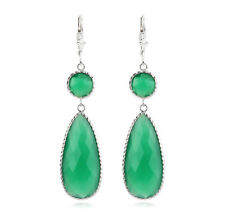 14K White Gold Gemstone Earrings With Dangling Green Onyx