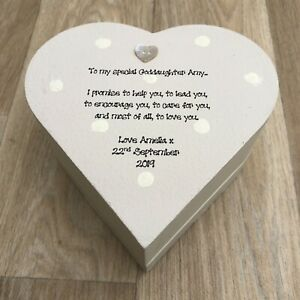 Goddaughter ANY NAME Heart Box PERSONALISED gift Christening Birthday Christmas