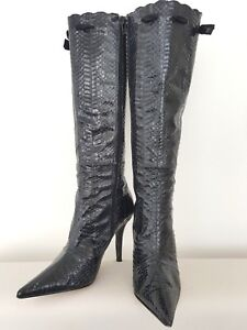 LADIES FRENCH CONNECTION SNAKESKIN LEATHER LINED BOOTS BLACK SIZE 3.5 EUR 36