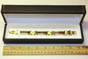 Daniel Steiger Men's Bracelet- Size 9, Sapele Wood, Gold Plated- New- Never Worn