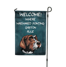 Welcome where Wirehaired Pointing Griffon Dog Rule Yard Banner Garden Flag