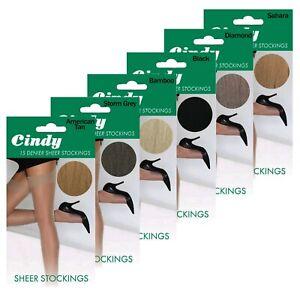 Ladies 15 Denier CINDY Sheer Stockings reinforced toe 3-8 100% Nylon Smooth