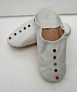 MOROCCAN SOFT LEATHER SLIPPERS * WHITE * ALL SIZES