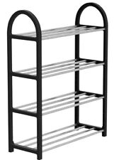 4 Tier Shoe Rack Large Black Shoe Rack Four Levels Tier Holds 12 - 20 Pairs