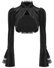 Punk Rave Pyon Womens Gothic Lolita Velvet Bolero Shrug Black Lace VTG Cardigan
