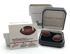Tokens & Icons Ohio State University Game Used Football Cufflinks Silver New