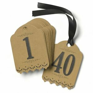 Vintage - Table Number Tags (1-40) - Kraft