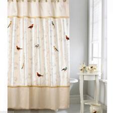 NIP Gilded Birds Embroidered Birds Fabric Shower Curtain by AVANTI Gorgeous