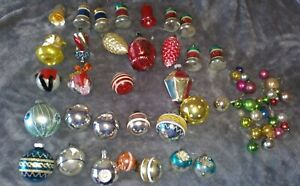 Vintage Mercury Glass Mica German Whiney Brite Christmas Ornaments Mixed Lot