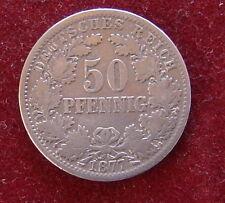 KAISERREICH: 1877  50  Pfennig  Mz. D  schön/Sehr schön kleiner Adler  Silber