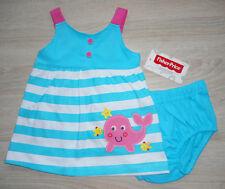 Baby Mädchen Sommer Kleid 💕 Set 2tlg 💕 Kleid + Höschen maritim 💕 türkis 💕NEU