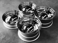 "15"" x 5"" 7"" 8"" SMOOTH CHROME CAP SMOOTHIES 4 1955 CHEVY 1956 1957 PERFECT OFFSET"
