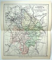 Original 1891 Map of The County of Warwick, England by G. Philip & Son