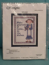 CJ DESIGNS COUNTED CROSS STITCH KIT DO THE DISHES  NEW