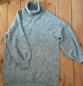 Monki Grey Roll Neck Jumper Dress Wool Blend M