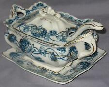 "ANTIQUE ADAMS SEMI-PORCELAIN TUREEN LADLE TRAY ""LILY"" FLORAL DESIGN CA1879-1900"