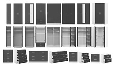 REFLECT High Gloss Grey / Matt White - Bedroom Furniture Wardrobe Chest Bedside
