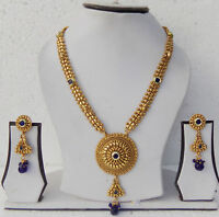 Gold Plated Ethnic Indian Fashion Jewelry Bollywood Long Necklace Earrings Set