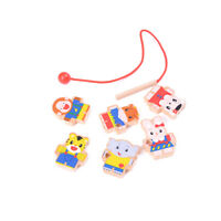 Wooden toys 6 Cartoon Animals Wooden Threading Beads Game Education Toy EO