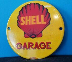 """VINTAGE SHELL GASOLINE PORCELAIN GARAGE GAS OIL 6"""" SERVICE STATION PUMP SIGN"""