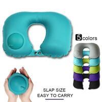Portable Press U-shaped Inflatable Pillow Travel Pillow Outdoor Neck Rest GA