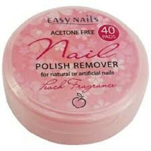 Easy Nails Nail Polish Remover 40 Pads Acetone Free Natural or Artificial Nails