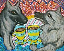 Norwegian Elkhound Drinking Coffee Dog art poster print 13x19 Handmade