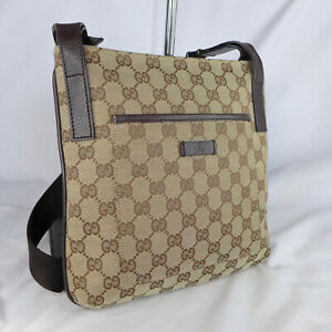 Authentic Vintage Gucci Brown GG Canvas Small Crossbody Messenger Shoulder Bag