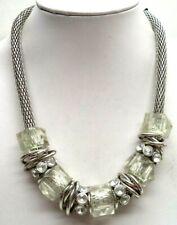 "Clear Bead 20"" Necklace! 6571U Stunning Vintage Estate Silver Tone Rhinestone"