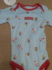 NWT INFANT CHRISTMAS BODYSUIT BLUE WITH REINDEER AND SANTAS 0-3 MONTHS