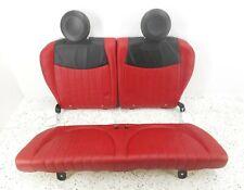 12 Fiat 500 Rear Lower Bottom Cushion Upper Back Seat Set OEM Black & Red