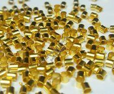250 Quetschröhrchen QUETSCHPERLEN CRIMPS METALL ENDPERLEN 2mm STOPPER GOLD  M22