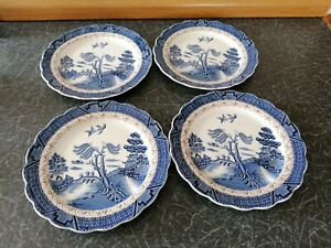 Booths Real Old Willow Salad Dessert Plates x 4 - 8 1/4 inches in diameter
