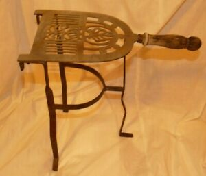 """Vintage Brass & Iron Hearth Fireplace Iron Trivet Stand Wood Handle 14.5"""" Tall"""