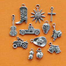 Country Gal Charm Collection 12 Tibetan Silver Tone Charms FREE Shipping E107