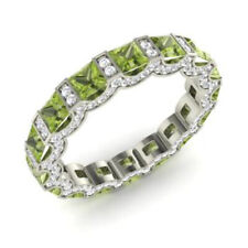 3.88 Ct Natural Peridot Gemstone Band Solid 950 Platinum Diamond Ring Size M N P