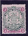 RHODESIA BSA COM 1896-97 DEF 3.- GREEN & MAUVE ON BLUE PAPER MINT NO GUM.CAT$120