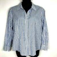 Chicos 3 tunic blouse XL blue stripe top button 100% cotton fitted ls crinkle