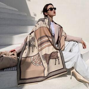 Winter Long Scarf Women Fashion Imitate Cashmere Horse Print Big Shawl Kerchief