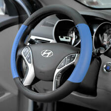 Two Tone Blue PU Leather Non-Slip Steering Wheel Cover For Car Van SUV Truck